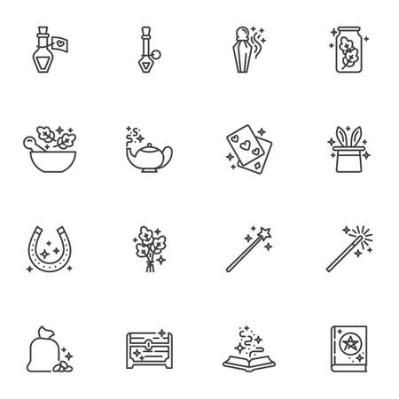Magic and witchcraft line icons set Illustration