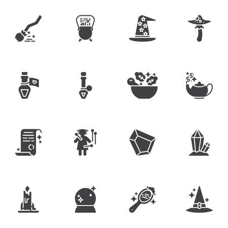 Witchcraft magic vector icons set