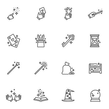 Magic tricks line icons set
