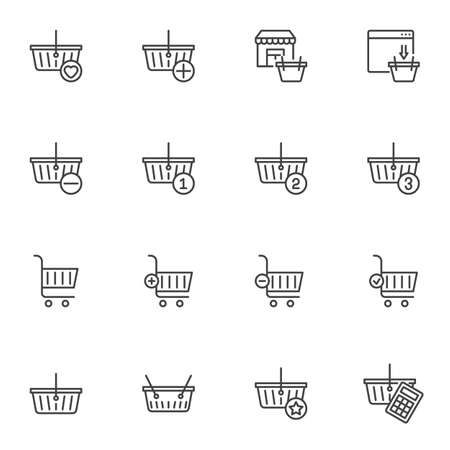 Shopping cart and basket line icons set