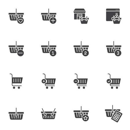 Shopping cart and basket vector icons set Illustration