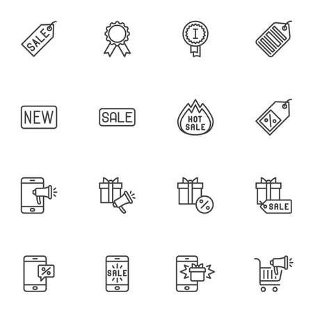 E-commerce online shopping line icons set Illustration