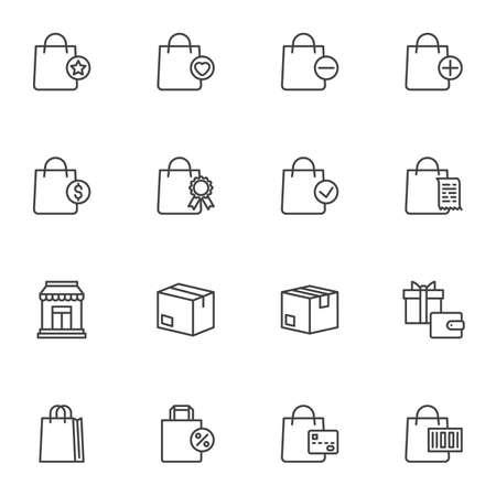 Shopping and ecommerce line icons set