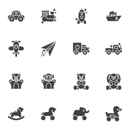 Kids toys vector icons set