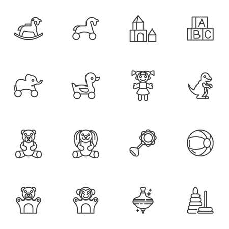 Baby toys line icons set