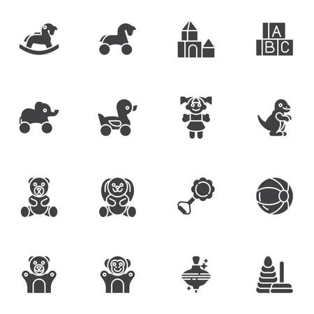 Baby toys vector icons set