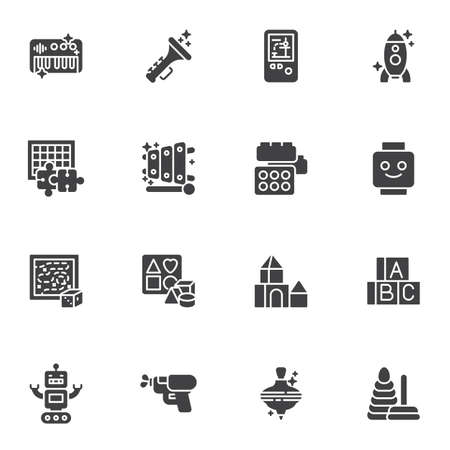 Toys vector icons set