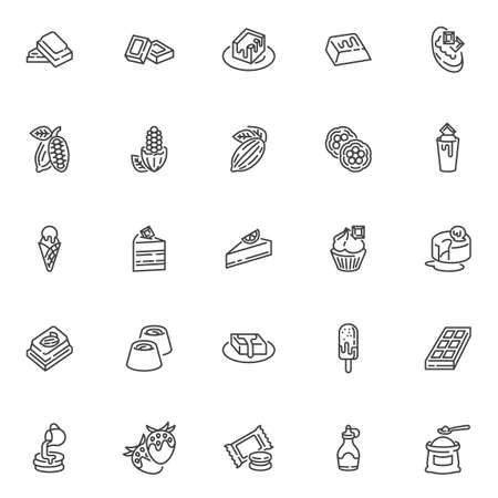 Chocolate and cocoa line icons set