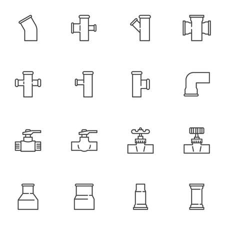 Plumbing related line icons set, outline vector symbol collection, linear style pictogram pack. Signs, logo illustration. Set includes icons as Pvc pipeline valve, pipe connector