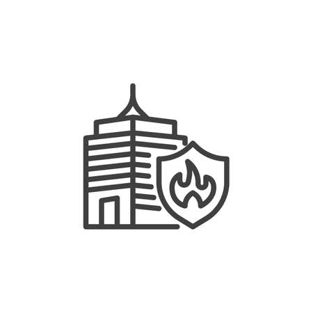 Office building insurance line icon Ilustración de vector