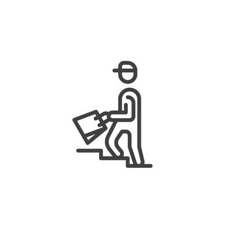 Food delivery man line icon
