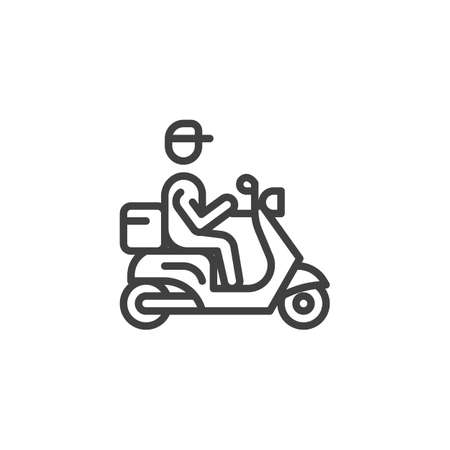 Delivery man riding motor bike line icon