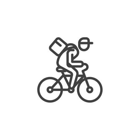 Delivery by bike line icon