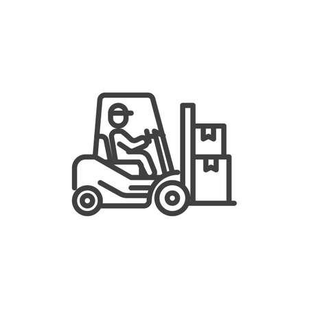 Man driving forklift truck with boxes line icon