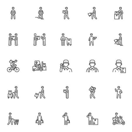 Courier shipping service line icons set