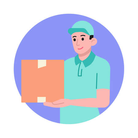 Delivery man with parcel box vector illustration Vettoriali