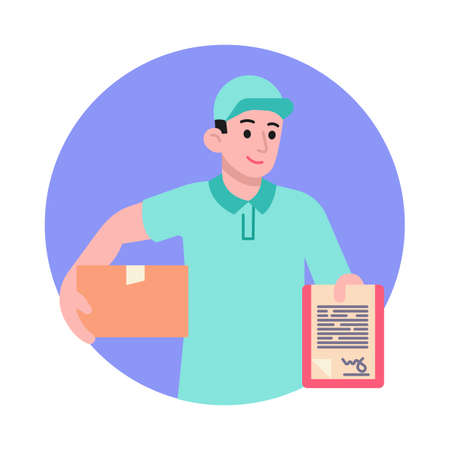 Postman with box and clipboard vector illustration