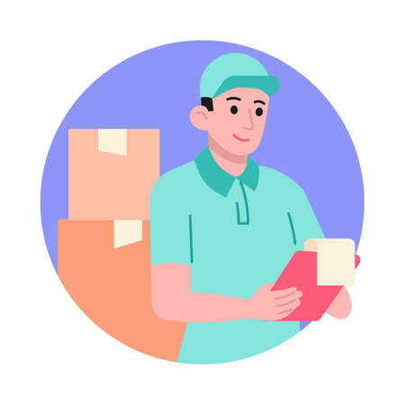 Delivery man with cardboard boxes and clipboard vector illustration
