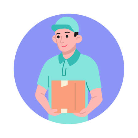 Courier guy with delivery box vector illustration Vettoriali