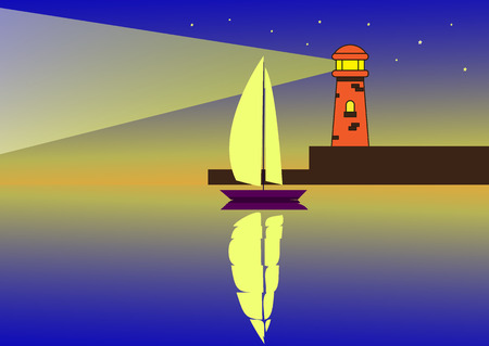 Sailboat at night in the sea and light from the lighthouse