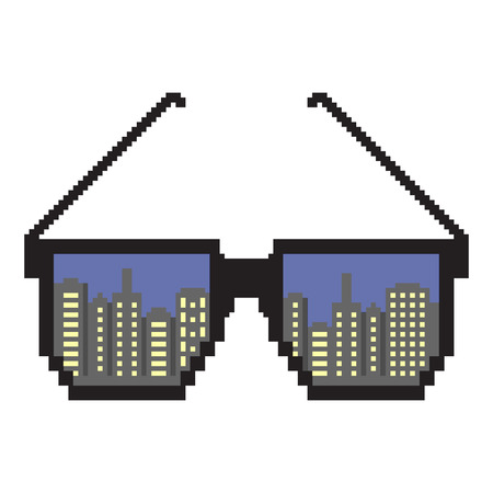 City Lights New York. Pixel art. Pixel sunglasses. Flat design style. Modern flat icon in stylish colors. Reflection of a big city New York 일러스트