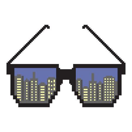 Stadtlichter New York. Pixel Kunst. Pixel Sonnenbrille. Flacher Designstil. Moderne flache Ikone in den stilvollen Farben. Reflexion einer Großstadt New York