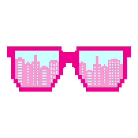 Pixel art. Pixel sunglasses. Flat design style. Modern flat icon in stylish colors. Reflection of a big city New York 일러스트