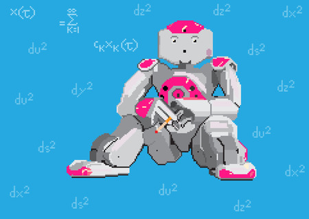 Pixel art illustration of Robot and formulas. Vector illustration