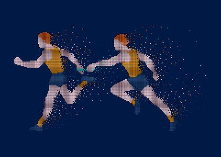 Pixel kunst illustratie. Tijd hebben om te doen. Estafette race illustratie