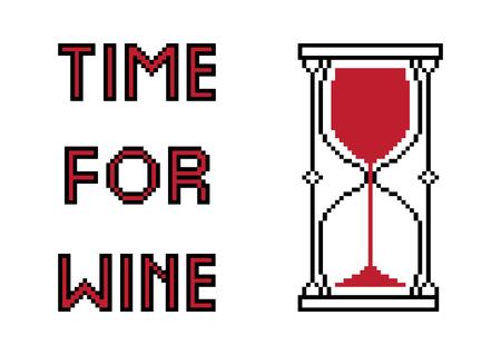 Vector pixel art. Creative original design for girls and boys. Time for wine. Wine glass inside hourglass Ilustração
