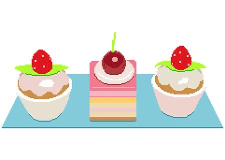 Cherry and Strawberry cakes. Colorful sweet cakes slices pieces set vector illustration. Pixel art illustration