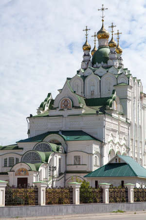 domes: Orthodox Church of white brick with gilded domes and crosses