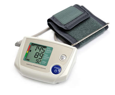 taking pulse: Tonometer - Digital blood pressure monitor on white background