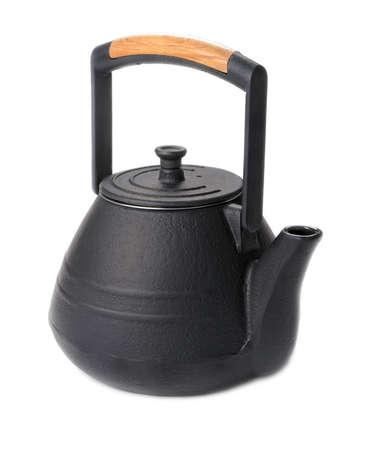 teakettle: Teakettle of cast iron on a white  Stock Photo
