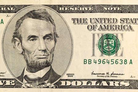 lincoln: Lincoln on five-dollar bill closeup