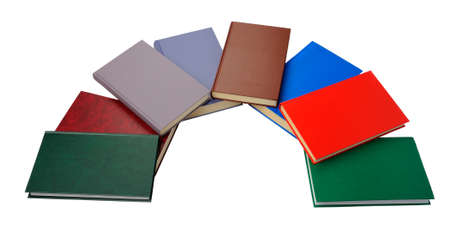 lose up: 'lose up of semicircle of colorful books on white background