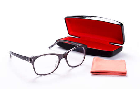 Spectacles with cleaning cloth and Case for glasses Stock Photo