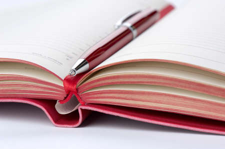 open diary: Open diary and pen red, closeup, shallow DOF