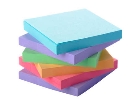 Pile colored block of post it notes, closeup