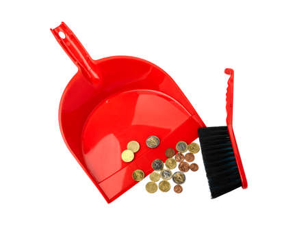 cleaning debt: Conceptual view of the financial crisis - dustpan, brush and eurocent