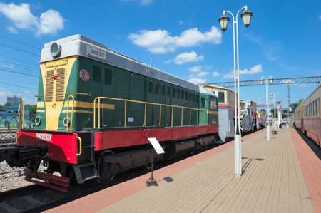 Moscow, Russia - June 23, 2016: Museum of Railway Transport of the Moscow railway, Diesel locomotive CHME2 series (Czechoslovak Shunting with electric transmission) CHME2-120, built in 1961