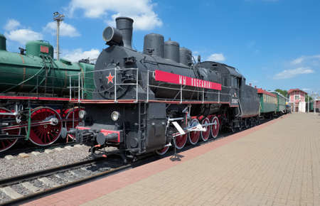 Moscow, Russia - June 23, 2016: Museum of Railway Transport of the Moscow railway, Freight locomotive EM 740-57 (Modernised) was built at the Kharkov Locomotive Works in 1935