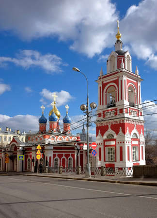 george: Moscow, Russia - March 14, 2016: Church of St. George the Victorious (Protecting Veil of the Virgin) on Pskovskaya Gora, Varvarka street, d.12, 15th century, landmark