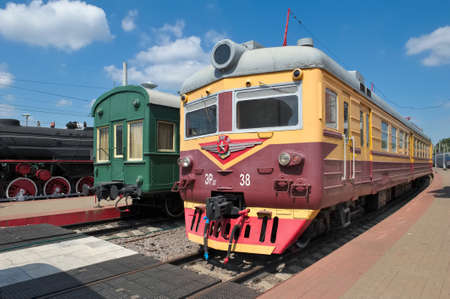 Moscow, Russia - June 23, 2016: Museum of Railway Transport of the Moscow railway, electric train ER 22-38, series DC electric Riga Carriage Works, produced from 1964 -1976 years