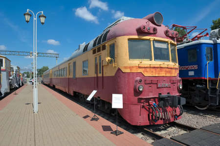 d1: Moscow, Russia - June 23, 2016: Passenger diesel train D1-538 built by order of the USSR in 1973 in the Hungarian plant Hans-Mavag, Museum of Railway Transport