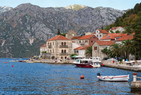 Montenegro, Perast - August 13, 2017: Picturesque view of the city of Perast on the shore of the Boka-Kotorska bay Editorial