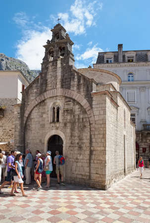 Montenegro, Kotor - August 13, 2017: Old Town, the acting Church of St. Luke (1195) in which there are two altars - Catholic and Orthodox. Gretz Square, interesting place