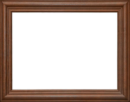 Wooden photo frame dark brown, isolated