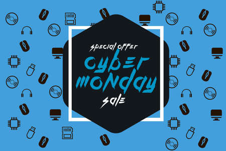 Cyber monday ribbon. Discount. Vector illustration