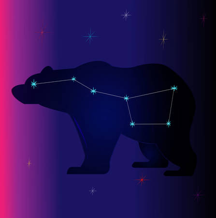 Set of vector constellations of the northern and southern hemispheres - Ursa Minor and Major, Pegasus, Cassiopea and others. All main constellation with names of stars and constellations. Sky map